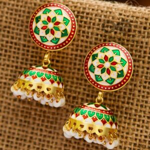 THE STATEMENT OF ELEGANCE – HANDPAINTED MEENAKARI JHUMKIS