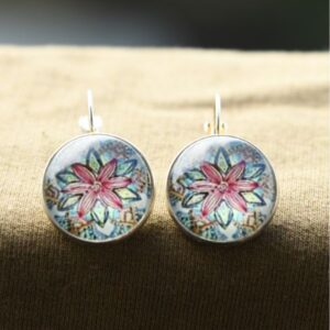 AZTEC STYLE GLASS BUTTON EARRINGS